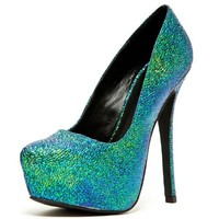 Qupid Mady 01X Iridescent Platform Pumps in Teal Green   shoes heels high heel shoes trendy shoes stilettos