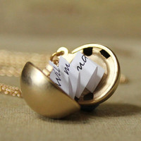 Secret Message Locket  Matte Gold Ball Locket by HeartworksByLori