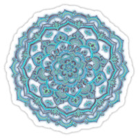 Summer Bloom - floral doodle pattern in turquoise & white