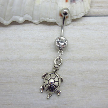 Antique silver cute turtle belly button ring , tortoise navel piercing, friendship belly button ring, unique gift