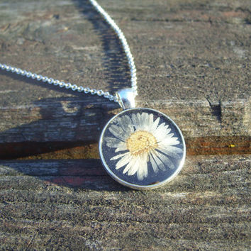 Real flower necklace - Daisy flower - Pressed flower jewelry - Botanical jewelry - Nature inspired necklace - Round silver