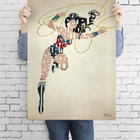 Wonder Woman typography art print poster based on a quote from the comic Wonder Woman