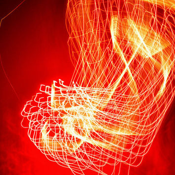 Fine Art Photo Print - Abstract Independence Day Fireworks Party Red Orange Black Celebrate Light Streak Art - Home Decor Wall Art 8 x 12