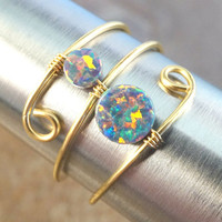 Beautiful Multi Color Black Opal Ring Wire Wrapped Silver or Gold - Made in Your Size