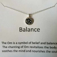 Om Necklace, Ohm Sterling Silver Charm Necklace, Yoga, Balance and Serenity