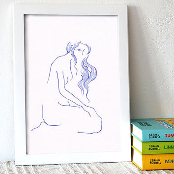 Blue ink pen nude sketch. Elegant line art drawing for bedroom decor. A4 size illustration of a woman.