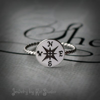 Compass ring - silver compass - nautical ring - sterling silver 925 - Jewelry by KatStudio