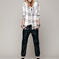 Free People Womens Vegan Leather Slouch Pant - Black,