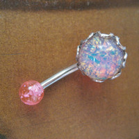 Pink Fire Opal Belly Button Jewelry Ring Stud by Azeetadesigns