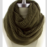 Olive Green Knit Scarf Chunky Scarf Soft Winter Infinity Scarf Stocking Stuffer Christmas Gifts Guide - By PiYOYO