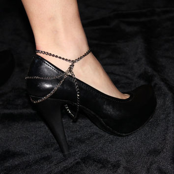 Silver and Black Chains Anklet and Shoe Harness
