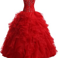 Sunvary Woman Red Organza Prom Dresses Ball Gown Quinceanera Gowns