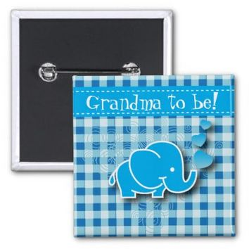 Blue Baby Elephant   Grandma to be 2 Inch Square Button