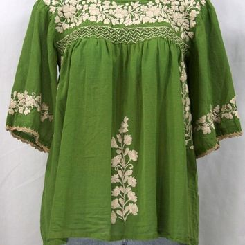 """La Marina"" Embroidered Mexican Style Peasant Top -Fern Green"