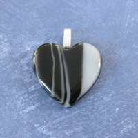 Heart Pendant, Black and White Striped Heart- Boo Bear - 4633 - 2