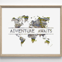 Adventure Awaits, World Map, Art Deco Typography, Minimialistic, Simplistic Home, Nursery Print, 8 x 10 Giclee Art Print Buy 2 Get 1 FREE