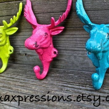 """Set of 3 Bright """"Moose Head"""" cast iron Wall Hook: YOU PICK the COLORS/ Shabby Chic/  Lodge, Cabin Decor/ Key Hanger, Coat Rack, Towel Holder"""