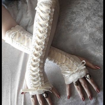 Porcelain Maiden Victorian Corset Laced Up Arm by ZenAndCoffee