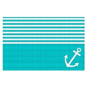 Area Rug, Kitchen Mat, Bath Mat with Chevron Weave Unique, Decorative, Stylish from DiaNoche Designs by Organic Saturation - Teal Love Anchor Nautical