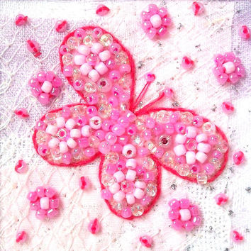 Beaded butterfly card - pink butterfly - fabric art card - patchwork card  - Mothers day card - wedding gift card