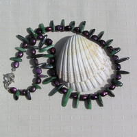 "Crystal Gemstone Statement Necklace, Ruby in Zoisite & Purple Freshwater Pearls ""Jazz"""