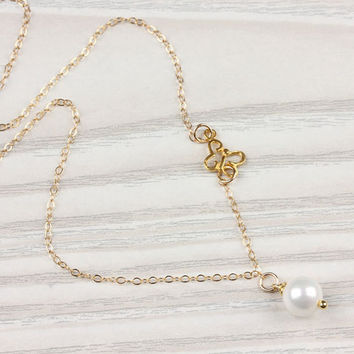 """Butterfly necklace, butterfy pendant, pearl necklace, butterfly jewelry, asymmetric necklace, freshwater pearl necklace, wedding, """"Moria"""""""