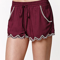 LA Hearts Embroidered Scallop Shorts at PacSun.com