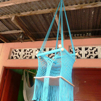 Blue Turquoise Happy Baby Chair Hammock for Children by hamanica