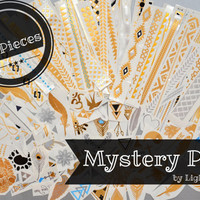 MYSTERY PACK! - 45 Tattoo Pieces - Metallic Silver, Gold, and Black Temporary Tattoo - Flash Tattoo - Easy Application Jewelry Body Ink Art
