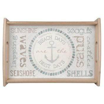 Nautical Best Days Beach Days Canvas Look Tray Food Tray