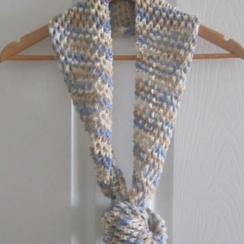 Skinny Scarf - Knit Infinity Scarf - Creamy Beige with Blue - Made in Canada - Spring Circle Scarf - Long Knitted Scarf - Wool Blend Knit