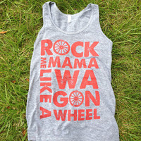 """Rock Me Mama Like a Wagon Wheel - Unisex Tank top - """"Athletic Grey"""" and Rust ink - Old Crow Medicine Show"""