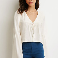 Embroidered Bell-Sleeve Peasant Top