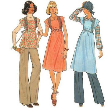 Vintage 70s Sewing Pattern Empire Waist Tuck Dress Jumper Tunic Small