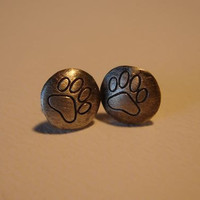 Silver Stud Earrings round with paw print Sterling by NiciLaskin