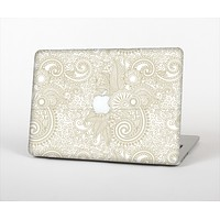 """The Tan & White Vintage Floral Pattern Skin Set for the Apple MacBook Air 13"""""""