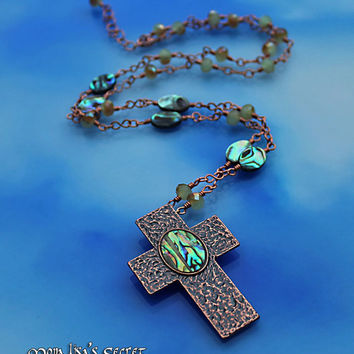 Copper With Abalone Cross Necklace, Copper Cross Pendant, Green and Copper Necklace, Christian Necklace, Copper Necklace