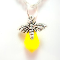 Yellow Bee Necklace Bee Charm and Yellow Briolette by mktENGINEER