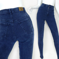 Vintage 80 High Waisted Skinnies - Western Riding Pants - Size 4 - Millers Knee Patch Stretch Slim Jeans -
