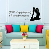 Wall Decor Vinyl Decal Sticker Quote Sport Girl Yoga Is the Perfect Opportunity to Be Curious About Who You Are Gym Bedroom Living Room Home Interior Design Kg824