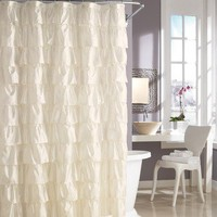 Steve Madden Ruffles Shower Curtain in Ivory | Wayfair