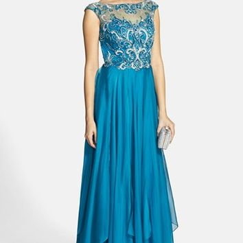 Women's Alyce Paris Embellished Open Back Chiffon Gown,