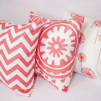 Three Coordinating Coral Throw Pillows Coral and White - 18 x 18 inches Throw Pillow Couch Pillow Accent Pillow