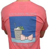 Tipsy and Tied Tee in Salmon by Southern Proper
