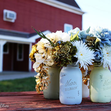 Barn Wedding Decor - Painted and Distressed Mason Jar - Centerpiece - Vase - Shabby Chic