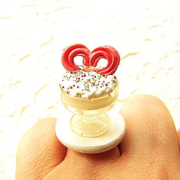 Heart  Ring Miniature Food Jewelry Candy Ice Cream