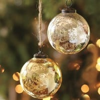 Mercury Glass Ball Ornaments - Silver & Gold, Set of 6