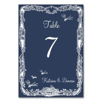 Dragonfly Garden Navy Blue Personalized Table Card