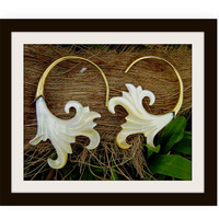 Gold Shell & Mother Of Pearl Earrings-Spiral Faux Gauges