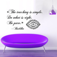 Wall Decals Vinyl Decal Sticker Home Interior Design Art Mural Buddha Quote Do What Is Right Be Pure Indian Amulet Kids Baby Room Decor KT81